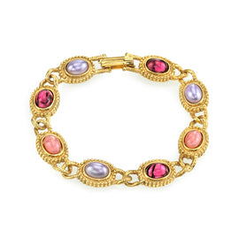 14k Gold Dipped Oval Light and Dark Amethyst Colored Stones Link Bracelet
