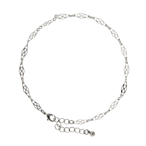 Silver Tone Chain Anklet 9 - 10.5 Inch Adjustable