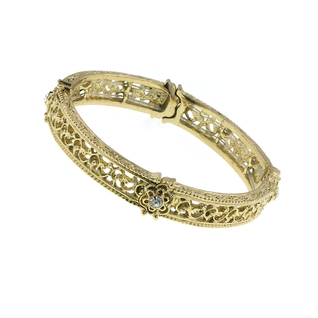 Gold-Tone Crystal Filigree Stretch Bracelet