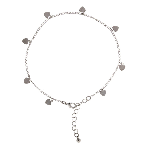 Silver Tone Chain With Heart Drops Anklet 9  Adj.