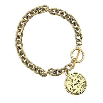 Brass Round Peace Medallion Toggle Bracelet