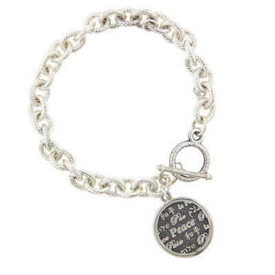 Silver Tone Round Peace Medallion Toggle Bracelet