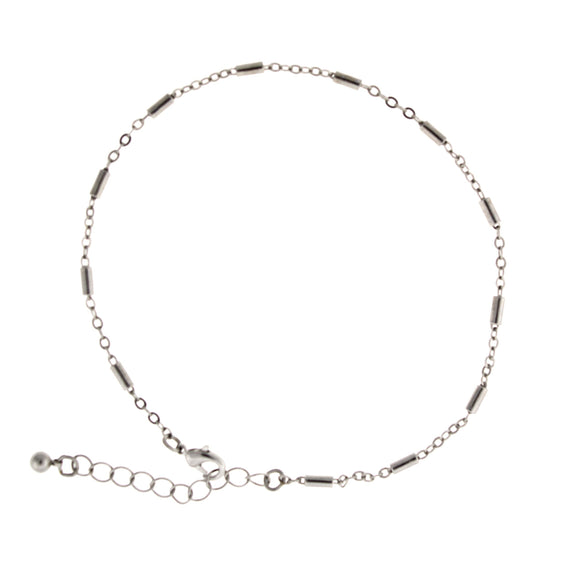 Silver Tone Delicate Link Chain Anklet 9
