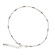 Silver Tone Chain Anklet 9 - 10 Inch Adjustable