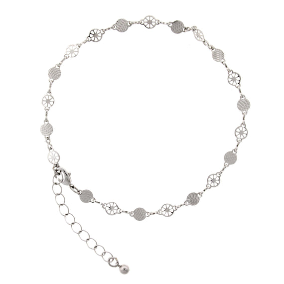 Silver Tone Chain Anklet 9  Adj.