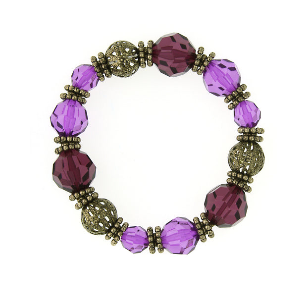 Gold Tone Amethyst Stretch Bracelet