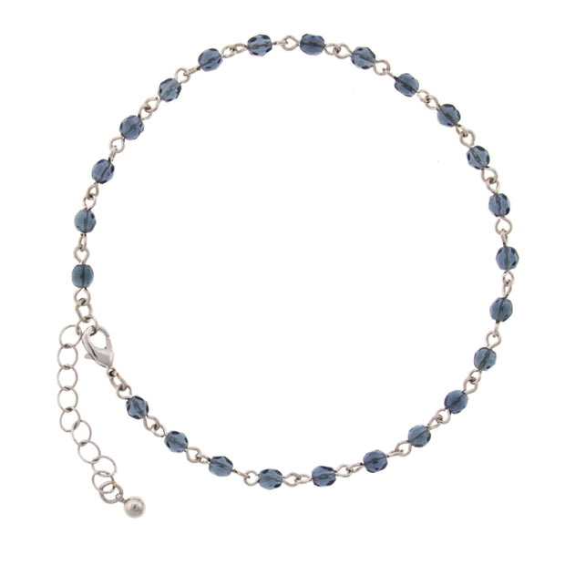 Silver Tone Blue Beaded Chain Anklet 9  Adj.