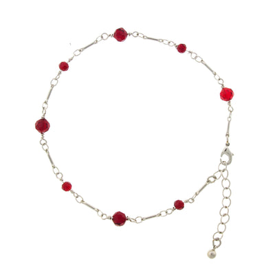 Silver Tone Red Beaded Chain Anklet 9  Adj.