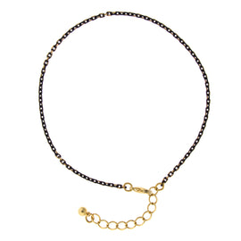 "14K Gold Dipped and Black Tone Chain Anklet 9"" Adj."
