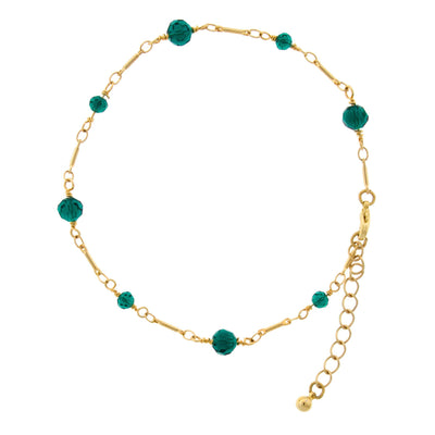 Gold Tone Green Beaded Chain Anklet 9  Adj.