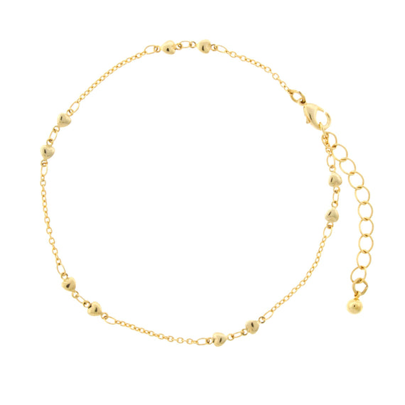 Gold Tone Heart Chain Anklet 9  Adj.