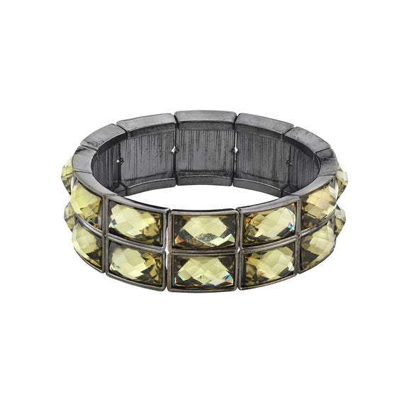 Fashion Jewelry - Hematite-Tone Black Diamond Color Crystal Stretch Bracelet