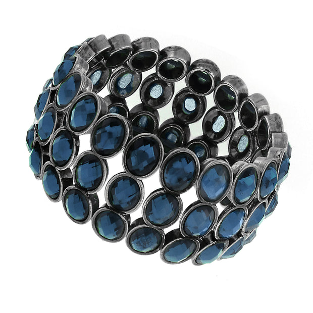 Hematite Blue Stretch Bracelet