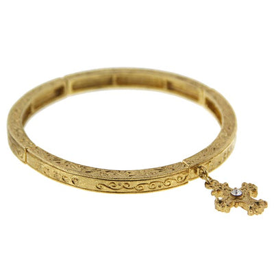 Gold-Tone Crystal Cross Stretch Bracelet