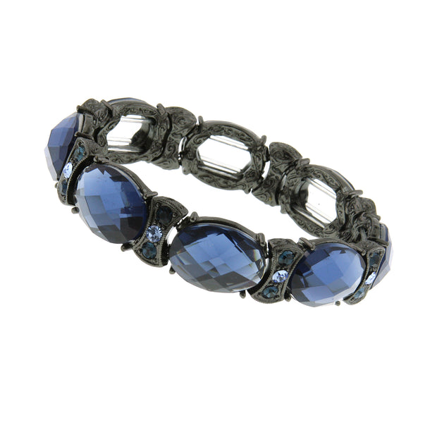 Black-Tone Blue Stretch Bracelet