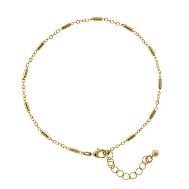 Gold Tone Chain Anklet 9 - 10 Inch Adjustable