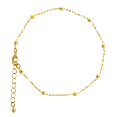 Gold Tone Beaded Chain Anklet 9  Adj.