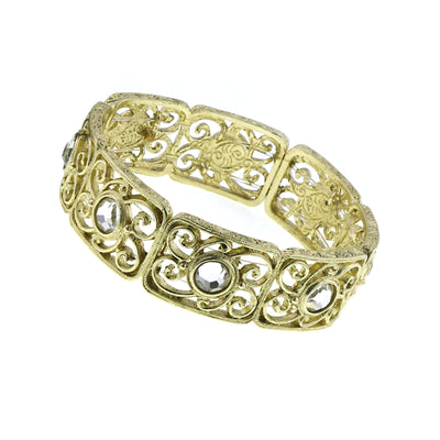 Gold Tone Crystal Stretch Bracelet