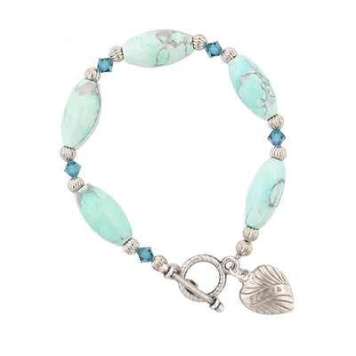 Silver-Tone Turquoise Color Beaded Toggle Bracelet