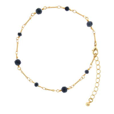 Gold Tone Blue Beaded Chain Anklet 9  Adj.