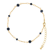Blue Gold Tone Multi Beaded Chain Anklet 9 - 10 Inch Adjustable