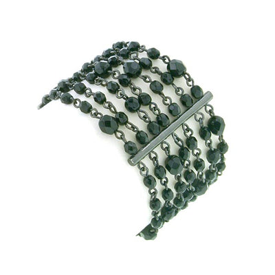 Black Tone Black Bead Beloved Multi Row Bracelet