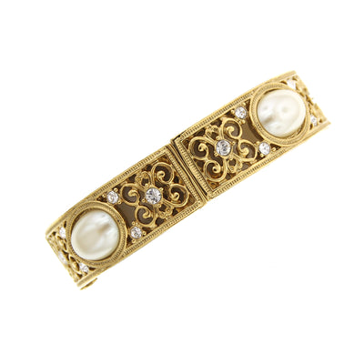 Gold-Tone Crystal Costume Pearl Stretch Bracelet