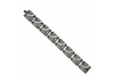 Black-Tone Crystal Elements Bracelet
