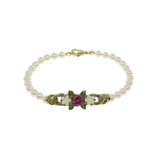Brass / Costume Pearl / Fuchsia Enamel Flower Beaded Bracelet