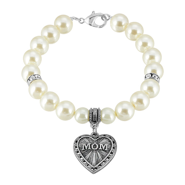 Pewter Mom Heart With Costume Pearl Charm Bracelet