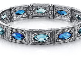 Silver Tone Blue Stretch Bracelet