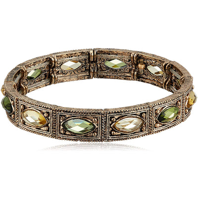 1928 Jewelry Brass Peridot Jonquil Stretch Bracelet