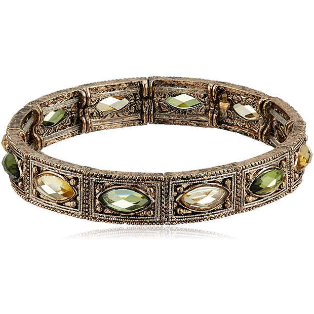 Gold Tone Green Stretch Bracelet