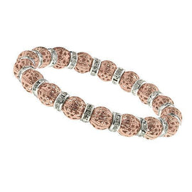 Rose-Gold Tone and Silver Tone Crystal Filigree Stretch Bracelet