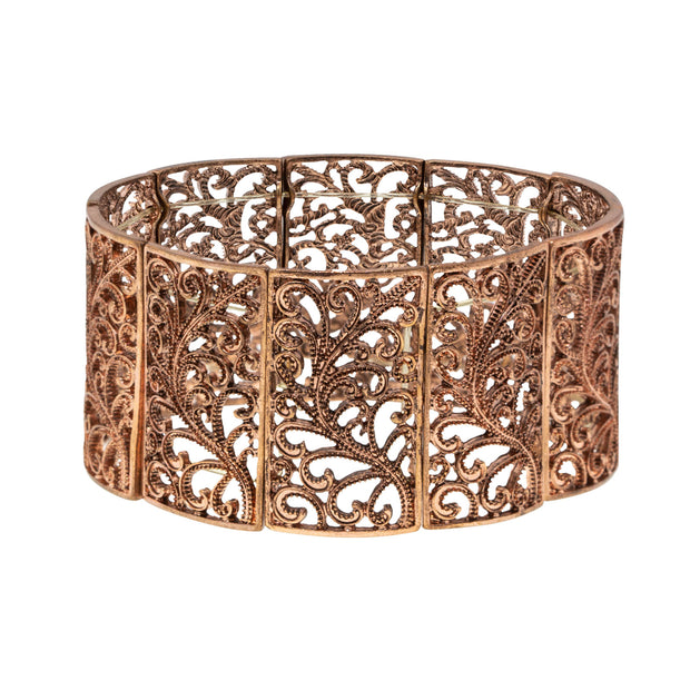 Copper Tone Wide Filigree Stretch Bracelet