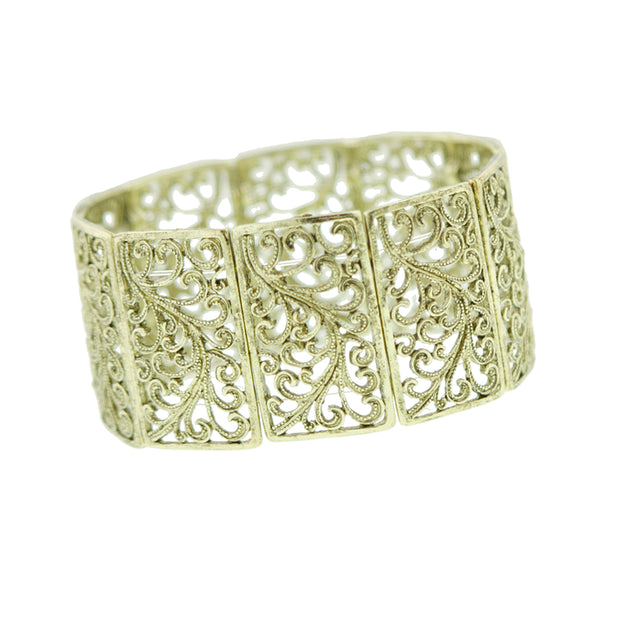 Gold Tone Wide Filigree Stretch Bracelet