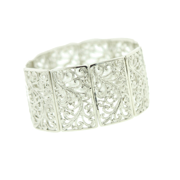 Silver-Tone Wide Filigree Stretch Bracelet