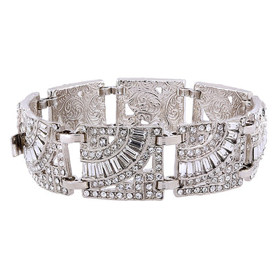 Silver Tone Crystal Art Deco Inspired Statement Bracelet
