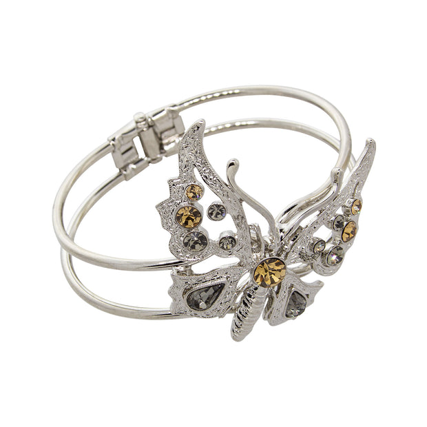 Silver Tone Lt. Topaz And Black Diamond Crystal Butterfly Hinge Cuff Bracelet