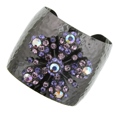 Black-Tone Purple and AB w/ Swarovski Elements Flower Cuff Bracelet