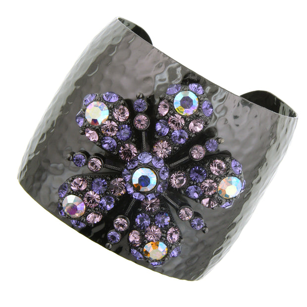 Black Tone Purple And Ab W/ Swarovski Elements Flower Cuff Bracelet