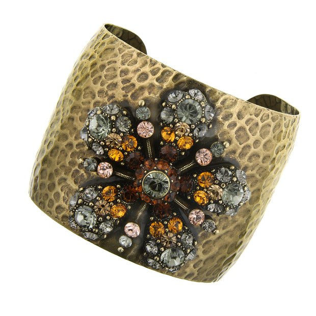 Gold-Tone Brown And Black Crystal Ab W/Swarovski Elements Flower Cuff Bracelet