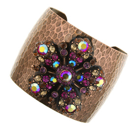 Fashion Jewelry - Antiquities Couture Flower Glitz Hammered Copper-Tone Cuff Bracelet