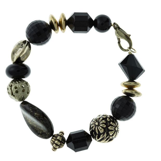 Gold Tone Black Color Beaded Bracelet