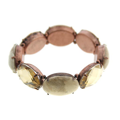 Burn Copper Riverstone Lt Smoked Topaz Stretch Bracelet