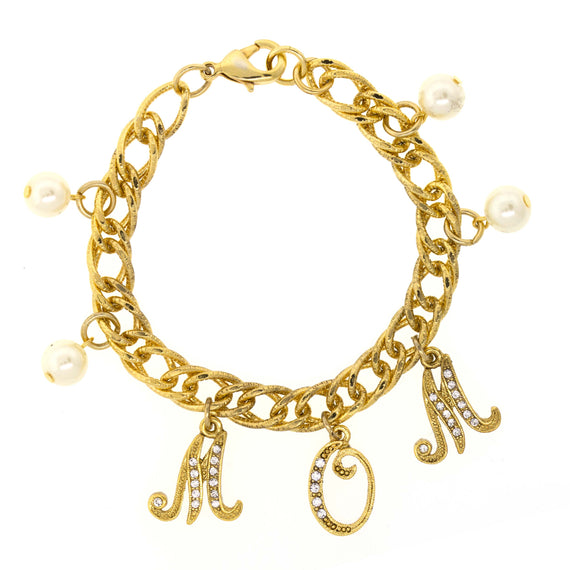 14K Gold Dipped Crystal MOM Charms with Simulated Pearl Chain Bracelet