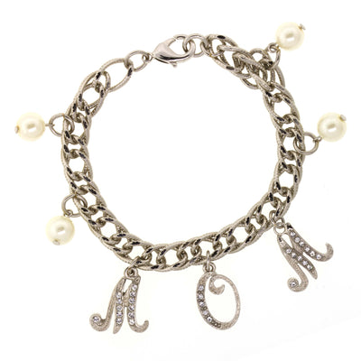 Silver Tone Crystal Faux Pearl MOM Charm Chain Bracelet