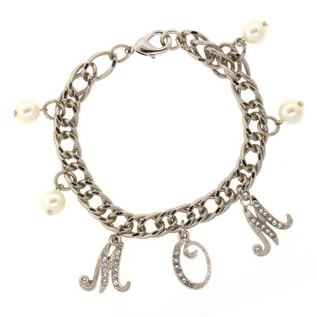 Crystal Costume Pearl Mom Charm Chain Bracelet