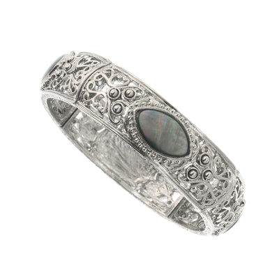 Silver-Tone Grey MOP Stretch Bracelet