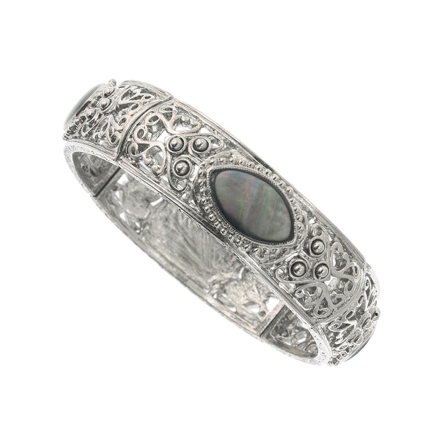 Silver Tone Grey Mop Stretch Bracelet